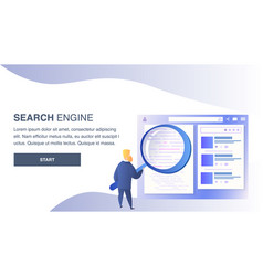 search engine website flat color template vector image