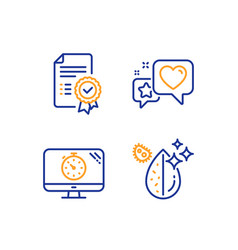 Seo timer heart and certificate icons set dirty vector