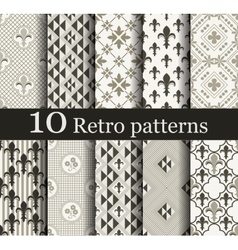 Set of 10 seamless retro patterns vector
