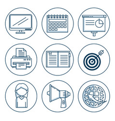 Set of business and office work elements vector