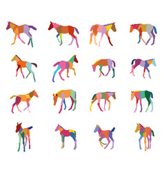 set of colorful silhouettes of foals vector image