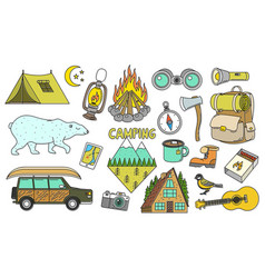 set of cute camping elements equipment in forest vector image