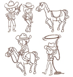 Simple sketches of a cowboy vector image