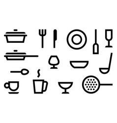 Simple symbols of cookery kitchen utensils and vector