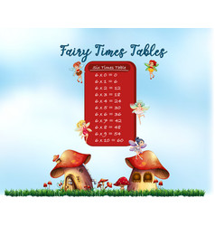 six times tables fairy theme vector image