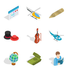 Specialty icons set isometric style vector