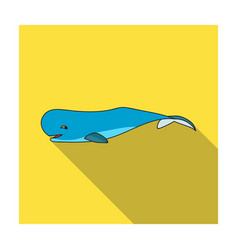 sperm whale icon in flat style isolated on white vector image vector image