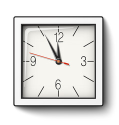 Square wall clock in white body with black edging vector