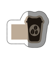 Sticker monochrome emblem with disposable coffee vector