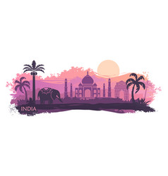 Stylized landscape india with taj mahal and vector