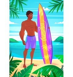 Surfing boy cartoon character Isolated vector