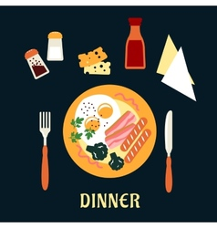 Tasty cooked dinner on a plate vector image
