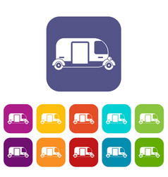 thailand three wheel native taxi icons set vector image