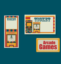 Ticket templates for playing park or room arcade vector
