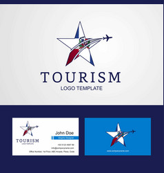 Travel dominican republic flag creative star logo vector