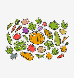 vegetables set farming horticulture concept vector image