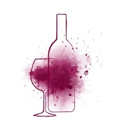 wine bottle and grape splash vector image
