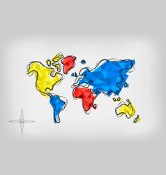 World map low poly art doodle concept vector
