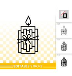 Xmas candle flame simple black line icon vector