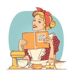 Young woman holding cook book in her hands vector
