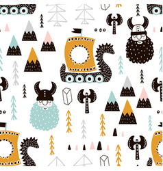 childish seamless pattern with vikings trendy vector image vector image