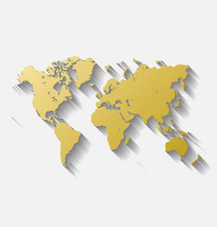 Golden world map silhoutte metal like design with vector