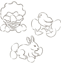 Happy Easter set of hand drawn characters vector image vector image