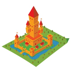 isometric castle vector image vector image