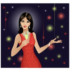 Party girl with champagne vector image