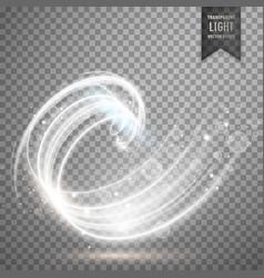 white transparent swirl light effect background vector image vector image