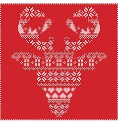 Winter pattern reindeer head frontal on red vector image vector image