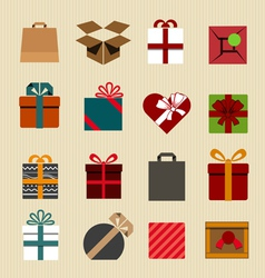Color gift boxes icons collection vector image