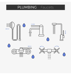 Faucets water tap thin line icons set vector image vector image