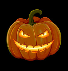 halloween pumpkin is smiling isolated on black vector image vector image