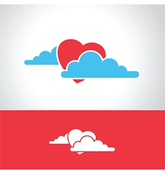 heart in clouds vector image vector image