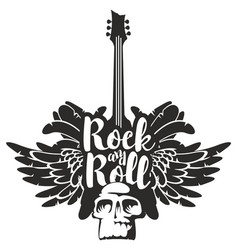 rock and roll banner with guitar wings and skull vector image vector image