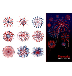 Set of fireworks design vector image vector image