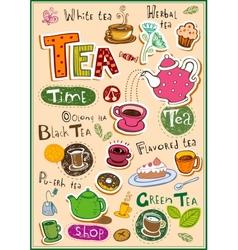 Tea design elements vector image