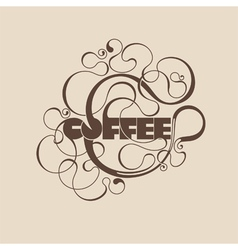Abstract curly coffee label vector image