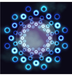 Dark futuristic round frame with blue neon rings vector image