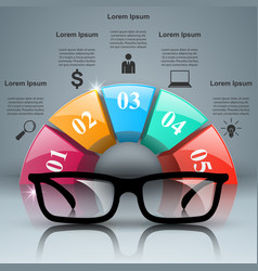 Glasses icon abstract infographi vector