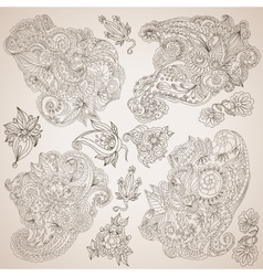 Ornamental decorative elements set vector image