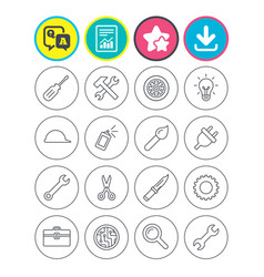 repair tools icons hammer with wrench key vector image