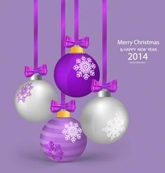 Christmas balls with ribbon and bow vector image