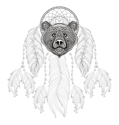Hand drawn zentangle Dreamcatcher with Bear head vector image