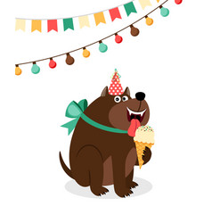 happy dog with ice cream card vector image