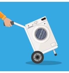 Metallic hand truck with washing machine vector image vector image
