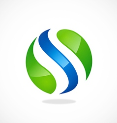 S round wave logo vector image