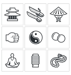 Wing Chun icons vector image vector image
