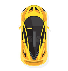 yellow sport car top view in flat style isolated vector image